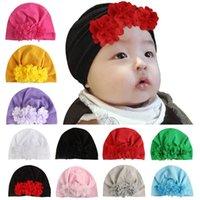 Wholesale yellow flower hat resale online - Newborn Hat Solid Flower Caps Kids Casual Hat Girls Winter Hats Autumn Winter Hats Baby Boys Caps