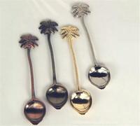 regalos de coco al por mayor-Cuchara Vintage Coco Palm Tallado Café Agitar Cuchara Cubiertos Cubiertos Mini Postre Snacks Scoop Para Regalo Vajilla de cocina