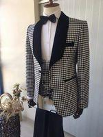 calças jacquard venda por atacado-Smoking do jacquard bonito smoking (jaqueta + gravata + colete + calça) homens ternos Custom Made terno formal para homens casamento Bestmen smoking barato 04