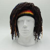 erkekler için sakallı şapkalar toptan satış-Komik Parti Kasketleri Peruk Sakal Şapka Hobo Mad Bilim Adamı Caveman El Yapımı Örgü Sıcak Kış Erkekler Kadınlar Cadılar Bayramı Hediyeler Caps