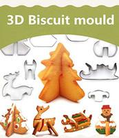 yılbaşı çerezleri şekiller toptan satış-Noel Kek Kurabiye Kesiciler Seti 3D Bisküvi Aracı Pişirme Kalıpları Senaryo Favori Tatil Şekiller Paslanmaz Çelik -