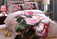 ingrosso fogli di stampa floreali rosa-Ispessimento Molatura Cotone 3D Fiore Floreale Rosa Set di biancheria da letto per ragazze Stampa ad olio Copripiumino rosa Lenzuolo Federe / Queen King Size
