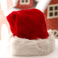 Wholesale adult santa claus hats for sale - Group buy Plush Red Santa Claus Hat Christmas Cap Thick Winter Warm Plush Santa Claus Hat Christmas Adults Xmas decorations Hats LJJA3386