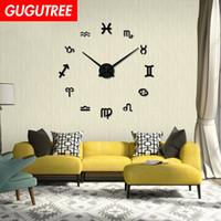 wanduhren großhandel-Dekorieren Home 3D Anzahl Spiegel Uhr Kunst Wandaufkleber Dekoration Abziehbilder Wandmalerei Removable Decor Wallpaper G-192