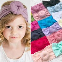 Wholesale nylon baby head bands resale online - baby girls knot headband Nylon hair head bands wrap accessories Cute Newborn hairband children headwrap KKA6374