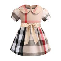 vestidos formales cortos para las niñas al por mayor-2019 Vestido de niñas Primavera y verano Nueva ropa de algodón Solapa de manga corta Falda a cuadros Vestido para niños