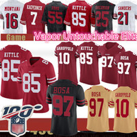 maillot de football 85 achat en gros de-97 Nick Bosa San Francisco Jimmy Garoppolo 49er Jersey 85 George Kittle Jerry Rice Foster jeune Joe Montana Richard Sherman Kaepernick Ford