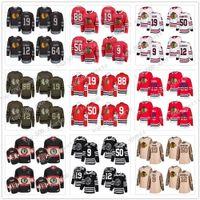 Custom Chicago Blackhawks Jersey 9 Bobby Hull 88 Patrick Kane 19 Jonathan Toews 12 DeBrincat 50 Crawford 64 Keith Dach Sharp USA Flag Hockey
