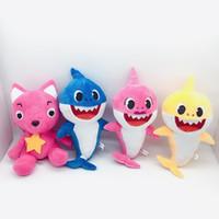 bebek varış hediyeleri toptan satış-Yeni varış Pinkfong 4 Stilleri 30 cm Bebek köpekbalığı Peluş oyuncaklar Sevimli Doldurulmuş Hayvanlar Köpekbalığı Bebekler Doğum Günü hediyeleri çocuklar için