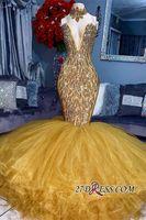 sarı tül balo elbiseleri uzun toptan satış-Gerçek Görüntüler Çarpıcı Yüksek Boyun Sarı Boncuk Kristal Örgün Abiye 2019 Mermaid Ruffles Tül Uzun Olay Balo Abiye Parti Elbise