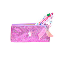 Wholesale zipper plastic gift bags resale online - Cool INS Fashion Unicorn Zipper Pencil Bag Lovely Sweet Girl Stationery Gift