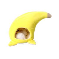 ev tarzı evcil hayvan toptan satış-Pet Yuva Peluş Hamster Yuva Muz Tarzı Sincap Chinchilla Yatak Kafes Uyku Sarı sevimli küçük ev Sınırsız sezon