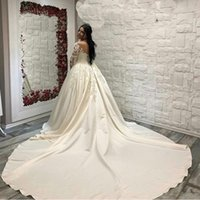 Wholesale short sleeve wedding dresses bridal gowns for sale - Group buy Saudi Arabic lace satin Wedding Dresses Long Sleeves Scoop neck Bridal Gowns Cathedral Train Plus Size Wedding gown