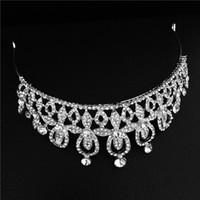 ingrosso ragazze corone in vendita-vendita calda all'ingrosso colore argento tiara di nozze corone per la sposa, ragazze capelli gioielli principessa strass tiara