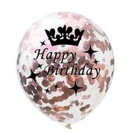 yıldız parti balonları toptan satış-Taç Konfeti Balonlar gül Altın Serisi Folyo Lateks Helyum Yıldız Balonlar, 18 21 30 40 50 Doğum Günü Partisi Düğün Yıldönümü Dekorasyon