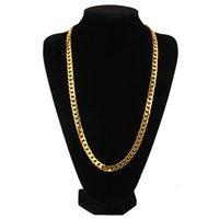 erkek hediyesi toptan satış-Hip hop 10mm 75 cm erkekler için küba zincirler lüks altın link zinciri kolye alaşım moda takı hediyeler için erkek arkadaşı bf doğum günü hediyeleri