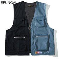 fermuarlar yaz ceketleri toptan satış-EFUNGAL Moda Wasitcoats 2019 İlkbahar Yaz Kolsuz Ceketler Paltolar PU Deri Yelekler Erkekler Yelek Fermuar Hip Hop Streetwear