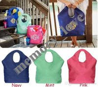Wholesale custom linen bags resale online - Jute Beach tote Personalized Large Women big size shopping Bag Casual Beach storage Luggage Bags Open pocket Custom alphabet