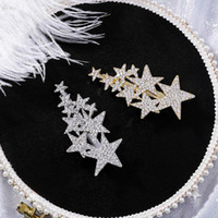 ingrosso accessori per capelli stella d'argento-AOMU Corea Women Shiny Strass Big Small Star Forcine Accessori per capelli per bambine Metal Gold Silver Hair Clips Hairgrip