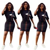 aktive trainingsanzüge groihandel-Womens Designer zweiteilige Kleider Mode Druck Womens Trainingsanzug Luxus Active T Shirt + Rock Womens Kleidung 2019 Sommer neue Größe S-XL