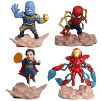 boneca mini para homens venda por atacado-Crianças 4 pçs / set Vingadores de Brinquedo Super Herói Homem Aranha Mini Homem De Ferro PVC Action Figure Modelo Bonecas de Brinquedo legal brinquedos L