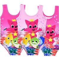 ingrosso le neonate nuotano i vestiti-Baby Shark Girls Swimsuirt Costumi da bagno del fumetto Costumi da bagno di un pezzo TTank Tute Vest Pagliaccetto Summer Beachear Bath Swimming Clothes A52405