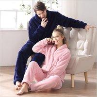ingrosso set di pigiama per le coppie-2017 Inverno Marca Homewear Coppie Pajama set Uomo Addensare Calda flanella Velluto Indumenti da notte Uomo Colletto rovesciato Cappotto + pantaloni
