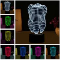 dientes de luz led al por mayor-Nuevo Fantastic Illusion Tooth 3D LED Night Light Colorful Kids Baby Atmósfera Dormitorio Mesa Lámpara fresca como regalo para el dentista Fiesta de Navidad