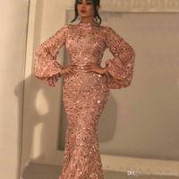 vestidos de baile árabe venda por atacado-2019 de Moda de Nova Pescoço Alto Mermaid Vestidos Lace mangas compridas árabes vestidos formais Prom vestidos de festa até o chão