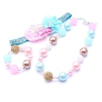 Wholesale baby toddler jewelry for sale - Group buy Blue Pink Color Necklace Bracelet Headband Set Birthday Party Gift Toddlers Girls Bubblegum Baby Kid Chunky Necklace Jewelry