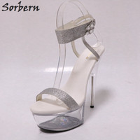 c1aed8fb137 wholesale Gold Glitter Slingback Sandals Night Club Pole Dance Sandals  Transparent High Heels Clear Platform Shoes Women Summer