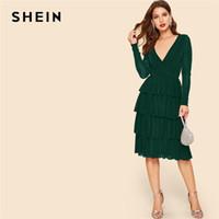 wickeln kleider für frauen großhandel-SHEIN Surplice Wrap Layered Ruffle Glitter Kleid Grün V-Ausschnitt High Waist Kleid 2019 Frühling Herbst Stretchy Women