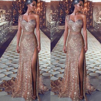Wholesale one shoulder cocktail dress for sale - Sparkling Sequined Prom Dresses One Shoulder Sequins Sexy High Side Split Mermaid Evening Dress Sweep Train Back Zipper Cocktail Party Dress