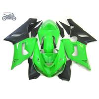 kawasaki zx6r yarış toptan satış-Kawasaki Ninja ZX6R 636 05 06 yeşil siyah yol yarış grenaj için Motosiklet kaporta kiti ZX6R 2005 2006 karoserini set