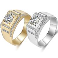 18k vergoldeter schmuck einzelhandel großhandel-Mens Luxus RING 18 Karat Gelbgold 925 Silber vergoldet CZ Diamant Männer Gold Ringe Hochzeitsgeschenk Schmuck mit Kleinkasten