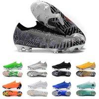 mercurial superfly mor toptan satış-Yeni Geliş Gri Mor Yeşil Erkek Mercurial Superfly Futbol Boots Düşük Kesim Gençlik Oyuncu Nefes Futbol Profilli Futsal Tasarımcı Sneakers