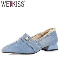 blaue knopfschuhe großhandel-WETKISS Niedrige Absätze Pumpt Frauen-Knopf 2019 Neue Pumpen-Frauen-Sommer-Denim-Schuh-weibliche Mode-beiläufige zerrissene Schuh-Damen Blau