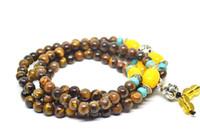 afrikanischer jadestein großhandel-Natürliche afrikanische Tigerauge Stein 6mm Perlen Silber Buddha Armband Mode Temperament Schmuck Edelsteine Zubehör Geschenke Großhandel