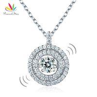 diseños únicos collar de plata al por mayor-Pavo real estrella bailando piedra Halo collar colgante sólido 925 plata esterlina especial diseño único Cfn8057 J190711