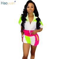 chándales a juego al por mayor-HAOYUAN Plus Size Conjunto de dos piezas Ropa de verano para mujeres Conjuntos a juego Neon Top y Biker Shorts Sweat Suit Casual Chándal
