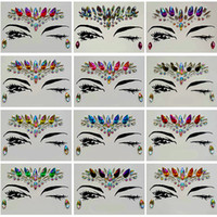 Wholesale tattoo stickers resale online - Diamond Sticker Bohemia Style Glitter Crystal Tattoo Stickers For Women Face Forehead Paster Wedding Decorations style RRA1183