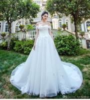 cauda de vestido de noiva venda por atacado-Luxo De Cristal Frisado Vestido De Casamento Vestidos De Noiva Vestidos De Noiva Fora Do Ombro Elegante Alta Classe Cauda Longa Noivas Vestidos Feitos À Mão Chinês