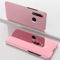 janelas huawei inteligentes venda por atacado-Espelho chapeamento View Case Janela Levante couro flip cobertura plástica para Huawei Companheiro 30 pro companheiro 30 Lite P inteligente Z P Smart Plus 2019 Y7 2019 50p