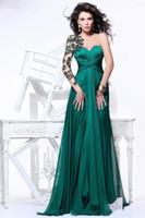 güzel uzun kollu gece elbiseleri toptan satış-2019 Yeni Geliş Güzel Aplikler Sheer Uzun Kollu Aç Geri Zümrüt Yeşil Şifon Abiye Örgün Törenlerinde Vestido de dresses 2018