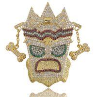 подвеска женской маски оптовых-Ледяной Цепи Кубического Циркона Золото Мода UKA маска Ожерелье Хип-Хоп Ювелирные Изделия Заявление Ожерелья Для Мужчин Женщин Подарки