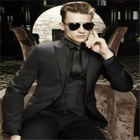 Wholesale mens autumn dress online - Handsome Groomsmen Peak Lapel Groom Tuxedos Mens Wedding Dress Man Jacket Blazer Prom Dinner Piece Suit Jacket Pants Tie Vest AA60