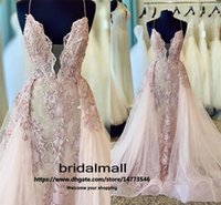 Wholesale evening dress empire resale online - Sexy Spaghetti Pink Evening Dresses With Overskirt Appliques Lace Long Formal Dress Backless Party Prom Gowns Mermaid robes de soirée