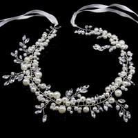 diadema perla coreana blanco al por mayor-Único accesorios Mujeres Mar del partido del pelo hermoso de elegante traje regalos de imitación blanca de la perla coreana con banda de San Valentín regalo