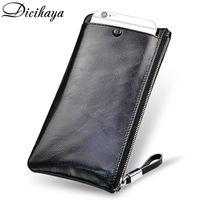 Wholesale large men photos resale online - DICIHAYA Soft Cowhide Men Clutch Wallets Genuine Leather Long Purses Business Large Capacity Wallet Zipper Phone Bag For Male