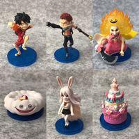 conjuntos de presente de anime de uma peça venda por atacado-6 pcs One Piece Anime Todo Bolo Ilha Grande Mom Luffy Katakuri Cenoura WCF 6º conjunto Sólido PVC Action Figure Modelo Boneca Brinquedos Presente